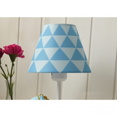 Conical 1 Light Wall Light Sconce with Lovely Monkey Blue Fabric Shade Wall Mount Fixture for Kids