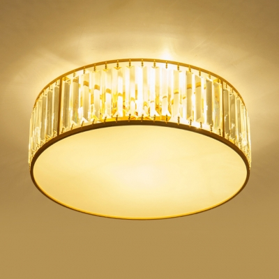 Gold Drum Semi Flush Mount Modernism Crystal 3/4/5 Bulbs Ceiling Fixture for Living Room