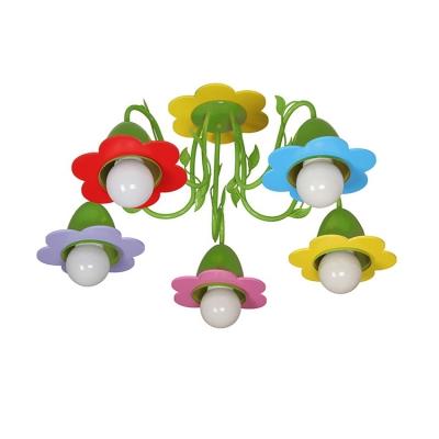 Green/Pink Flower Flushmount Modern Metal 5 Lights Ceiling Lamp for Nursing Room