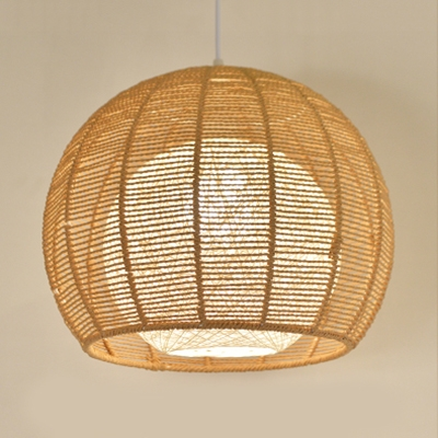 Inner Rattan Shade Pendant Lamp Modernism Single Light Hanging Ceiling Lamp in Beige/Flaxen