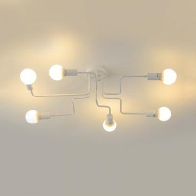 Matte White Curved Bedroom Light Industrial Modern Chic Metal 6/8 Heads Semi Flush Mount Lighting