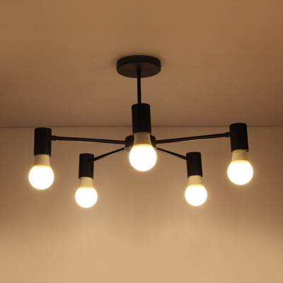 Metal Black Branch Ceiling Lamp Simple Concise 3/5/6 Lights Semi Flush Light Fixture for Study Room