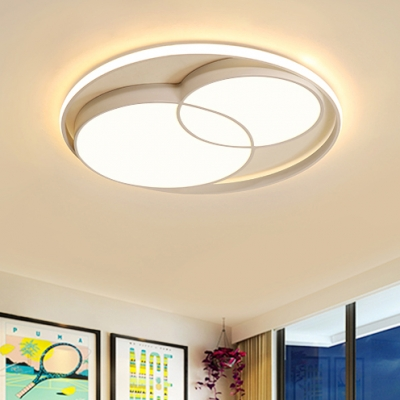 Metallic Circular Ceiling Fixture Minimalist LED Flush Light Fixture in White for Coffee Shop