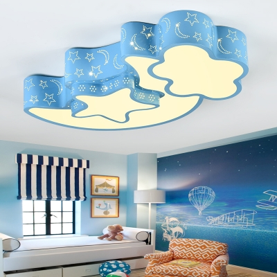 Moon and Star LED Ceiling Light Blue/Pink Metal Flush Mount for Boys