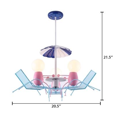 Open Bulb Lighting Fixture with Beach Chair Children Bedroom Metal 3 Lights Hanging Light in Pink