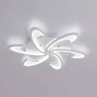 Post Modern Windmill Lighting Fixture Acrylic 3/6 Heads LED Semi Flush Light in White/Warm/Neutral