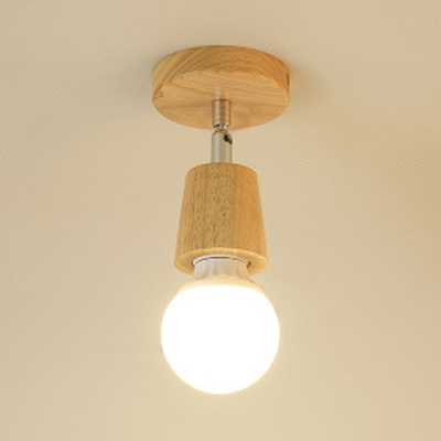 Rotatable Open Bulb Ceiling Light Minimalist Wooden Single Light Semi Flush Mount for Coffee Shop