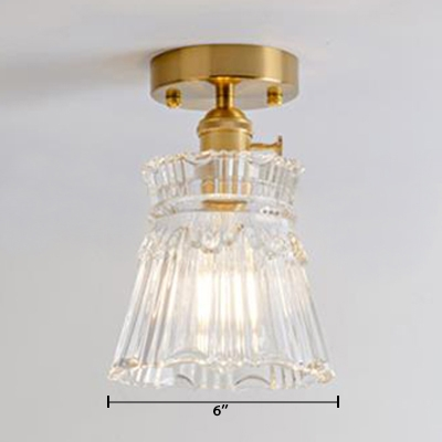 Soft Gold Finish Bell Indoor Lighting with Clear Textured Glass Single Light Mini Semi Flush Light for Staircase