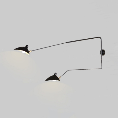 Swing Arm Wall Mount Light with Duckbill Shade Modern Chic Metallic 2 Heads Sconce Light