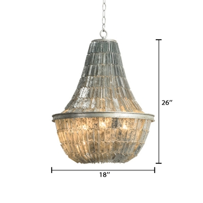 Triple Heads Empire Chandelier Retro Style Glass Hanging Ceiling Lamp in Antique Silver