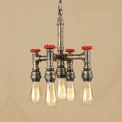 5 Heads Open Bulb Hanging Lamp with Pipe Industrial Metallic Chandelier in Antique Bronze/Silver