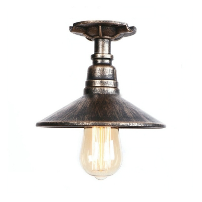 Cone-Shaped Surface Mount Ceiling Light Lodge Style Wrought Iron One Light Semi Flush Light for Hallway