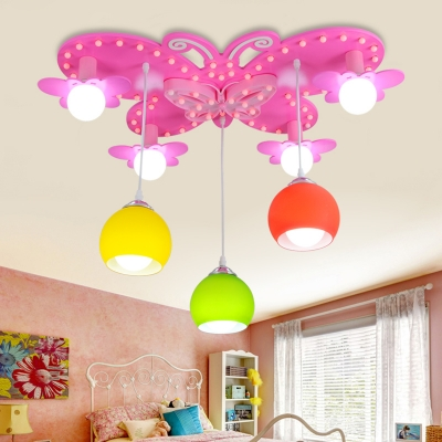 7 Lights Pink Butterfly Flush Mount Girls Bedroom Glass Shade