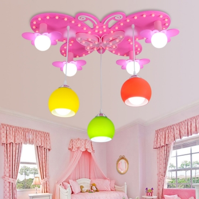 7 Lights Pink Butterfly Flush Mount Girls Bedroom Glass Shade Decorative Hanging Light