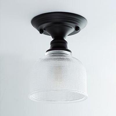 Black Finish Dome Surface Mount Light with Clear Prismatic Glass Vintage Retro Style Semi Flush Mount