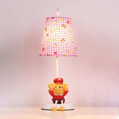 Cartoon Pink Trellis Shade Table Lamp with Cute Bear Fabric Single Light Table Light for Girls Room