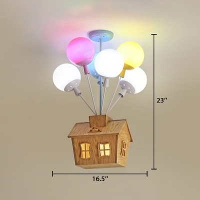 Colorful Balloon Suspended Light with House Decoration Kindergarten Glass Shade 5 Lights Hanging Light