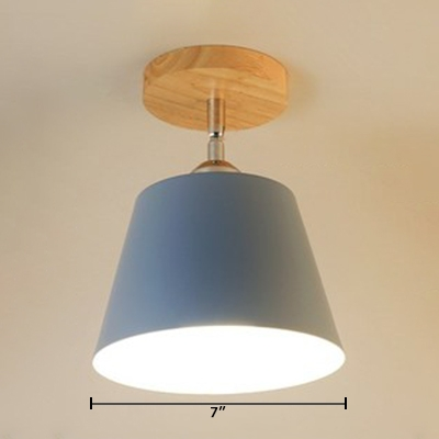 Colorful Cone Shade Semi Flush Mount Modernism Rotatable Metal 1 Light Ceiling Fixture for Kids Children