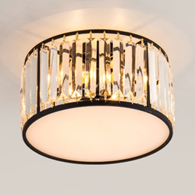 Crystal Drum Indoor Lighting Fixture Modernism 3/4/5 Lights Semi Flush Light Fixture in Black