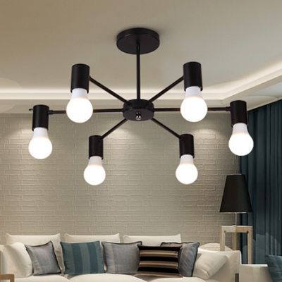 Metal Black Branch Ceiling Lamp Simple Concise 3 5 6 Lights Semi