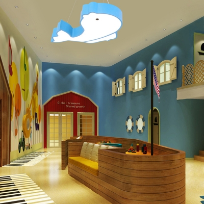 Metal Suspension Light with Fish Shape Blue/Red/Yellow LED Hanging Light Fixture for Kids