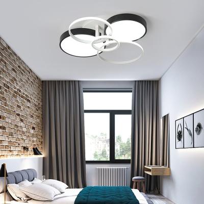 Metallic Round Flush Ceiling Light Nordic Style 3/5/7 Lights LED Flush Mount in Black and White