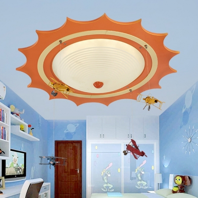 Orange Sun Shape Flush Mount with Airplane Ripple Glass Single Light Ceiling Fixture for Kids