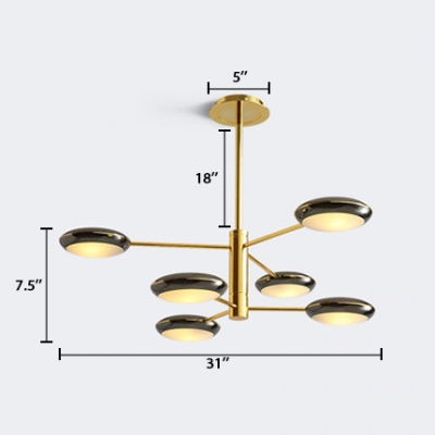 Post Modern Saucer Hanging Lamp Acrylic Shade 6 Lights Chandelier Ceiling Light in Gold