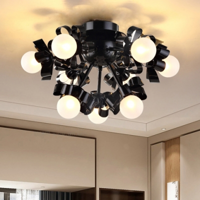 Post Modern Sputnik Semi Flush Mount with Modo Opal Glass 9 Heads Art Deco Ceiling Lamp in Black