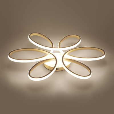 Silicon Gel Twist Semi Flush Light Nordic Style LED Ceiling Fixture in Warm/White for Living Room