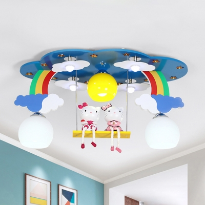 Triple Glass Shade Flush Mount with Cartoon Cat Blue/Pink Ceiling Fixture for Girls Bedroom