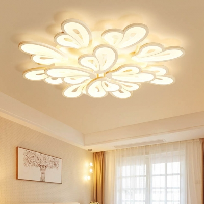 White 2 Tiers Ceiling Light with Wing Simplicity Modern Acrylic Multi Lights Lighting Fixture