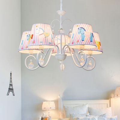 White Finish Shaded Chandelier Light with Cartoon Horse Fabric 5 Lights Drop Light for Kids