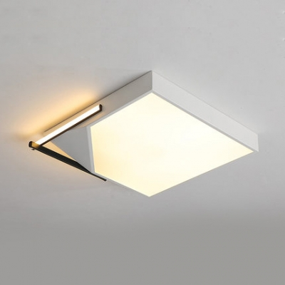 White Geometric LED Flush Lighting Minimalist Ceiling Lamp with Acrylic Shade for Living Room