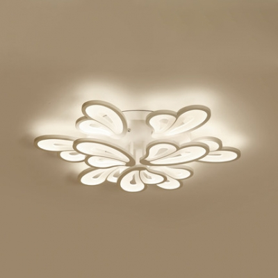 2 Tiers Semi Flush Light with Wing Design Nordic Style Acrylic 9-LED Semi Flush Mount in White