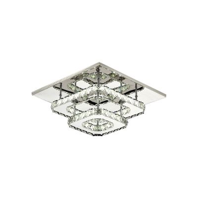 2 Tiers Square Semi Flush Mount with Clear Crystal Modern Fashion LED Ceiling Fixture for Corridor