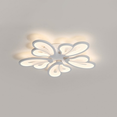5 Heads Heart Shape Ceiling Chandelier Modern Chic Acrylic LED Semi Flushmount in Warm/White/Neutral