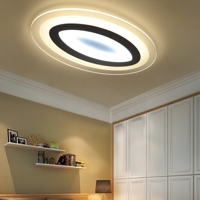 Acrylic Ultrathin Ellipse Flush Mount Modernism Surface Mount LED Light in White for Study Room
