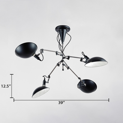 Adjustable 4 Heads Dome Chandelier Lamp with Metal Shade Contemporary Hanging Light in Black
