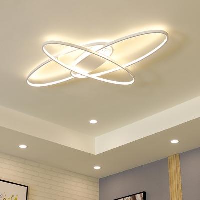 Aluminum Oval Ring Ceiling Lamp Simplicity Eye Protection LED Flush Light in White