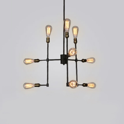 Antique Brass Linear Chandelier Industrial Metallic 9 Bulbs Suspended Light for Kitchen