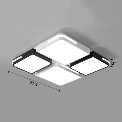 Black and White Blocks Ceiling Light Minimalist Metal Surface Mount LED Light for Study Room