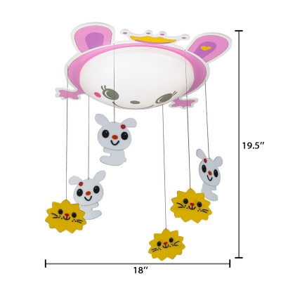 Bowl LED Flush Mount with Pink Bunny Modernism Girls Bedroom Acrylic Shade Ceiling Fixture