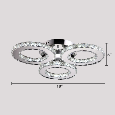 Circular Ring LED Ceiling Flush Mount Modern Fashion Clear Crystal Indoor Lighting Fixture