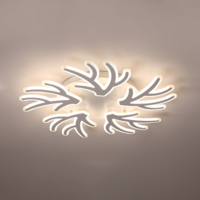 Coral Shape LED Semi Flush Light Simple Acrylic 3/5 Lights Lighting Fixture in Warm/White/Neutral