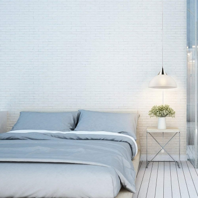 Dome Pendant Light Modern Simple White Glass Single Light Plug In Hanging Light in Silver