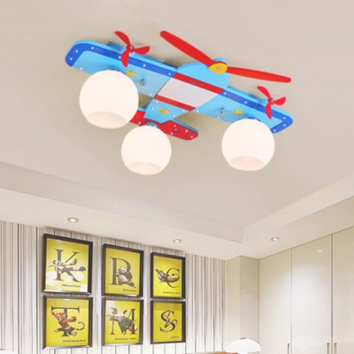 Frosted Glass Orb Shade Ceiling Fixture with Prop Plane Boys Room 3 Heads Flush Light in Chrome Finish