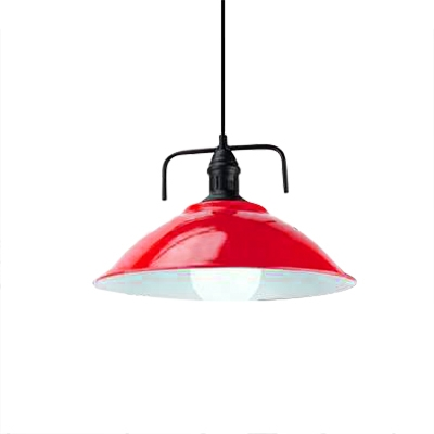 Industrial Pendant Light with 14.17''W Dome Metal Shade in Colorful Finish