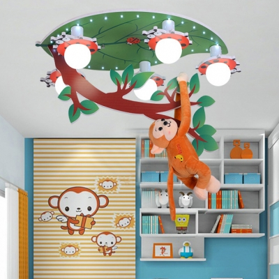 Ladybug 5 Lights Ceiling Lamp with Monkey White Acrylic Flush Light Fixture for Nursing Room