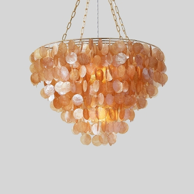 Modern Fountain Pendant Light Cognac Sea-Shell Single Light Lighting Fixture for Coffee Shop